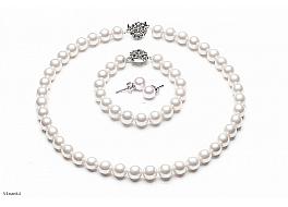 Naszyjnik + bransoleta + kolczyki, perły białe shell okrągłe 8mm, zapięcia posrebrzane
