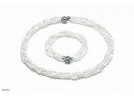 omplet - naszyjnik i bransoleta - zwijaniec, perły białe hodowane, słodkowodne nieregularne