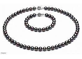Komplet - naszyjnik, bransoleta i kolczyki - z pereł grafitowych okrągłych wielkości 7-7,5mm. Zapięcie srebrne rodowane
