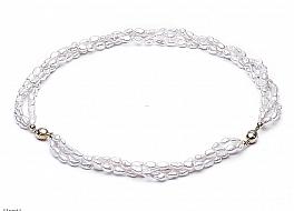 Naszyjnik z bransoletą z pereł hodowanych, słodkowodnych, białych, nieregularnych, zapięcie srebrne pozłacane