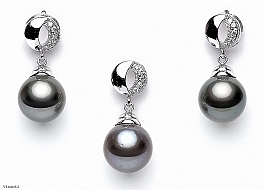 Set tahitian pearls with white gold with diamonds