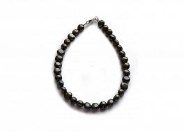 Bransoleta, perły czarne hodowane hodowane, słodkowodne barok 5-5.5mm, zapięcie srebrne