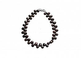 Bransoleta, perły brązowe hodowane, słodkowodne 4-4.5mm, zapięcie srebrne
