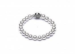 Bransoleta, perły białe shell okrągłe 8mm, zapinka posrebrzana