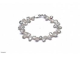 Bransoleta, perły białe hodowane, słodkowodne barok około 7 mm, zapięcie srebrne
