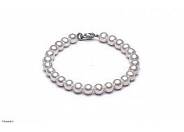 Bransoleta, perły białe hodowane, słodkowodne okrągłe 7-7.5mm, zapięcie srebrne