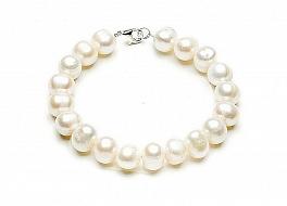 Bransoleta, perły białe hodowane, słodkowodne owalne 10-11mm