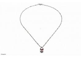 Naszyjnik z perłą shell wielkości 10mm w kolorze ciemnoróżowym