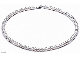 Naszyjnik, perły białe hodowane, słodkowodne 5,5-6 mm, zapięcie srebrne