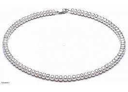 Naszyjnik, perły białe hodowane, słodkowodne ok.-6 mm, zapięcie srebrne