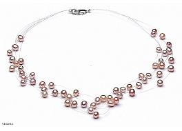 """Naszyjnik """"pajęczynka"""" 5 żyłek, perły łososiowe hodowane, słodkowodne okrągłe 5-5.5mm, zapięcie srebrne"""