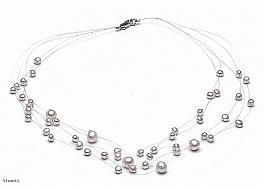 Naszyjnik pajęczynka 5 żyłek, perły hodowane, słodkowodne okrągłe 3-7mm, zapięcie srebrne