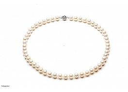Naszyjnik, perły białe hodowane, słodkowodne okrągłe 8-8.5mm, zapięcie srebrne rodowane