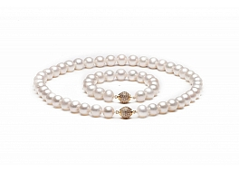 Komplet: Naszyjnik z bransoletą, perła biała słodkowodna hodowana, okrągła, 10-10,5mm