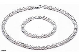 Komplet: Naszyjnik i bransoleta, perły białe hodowane, słodkowodne ok.6 mm, zapięcie srebrne