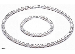 Komplet: Naszyjnik i bransoleta, perły białe hodowane, słodkowodne 5,5-6 mm, zapięcie srebrne