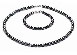 Komplet - naszyjnik i bransoleta - perły grafitowe słodkowodne   4-4.5mm, zapięcie srebrne