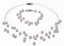 Set - necklace & bracelet, 5 strands, white, freshwater pearls, round, 5,5mm
