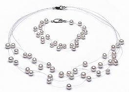 """Komplet naszyjnik """"pajęczynka"""" 5 żyłek + bransoleta , perły białe hodowane, słodkowodne okrągłe 5,5mm, zapięcie srebne"""