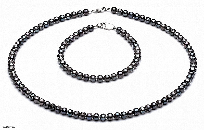 Komplet - naszyjnik i bransoleta - perły grafitowe hodowane, słodkowodne okrągłe 4-4,5mm, zapięcie srebrne