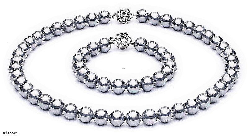 Komplet - naszyjnik i bransoleta - perły szare shell okrągłe 10mm, zapięcia posrebrzane