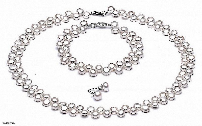 Komplet - naszyjnik, bransoleta i kolczyki - perły białe hodowane, słodkowodne  około 7 mm, zapięcie srebrne