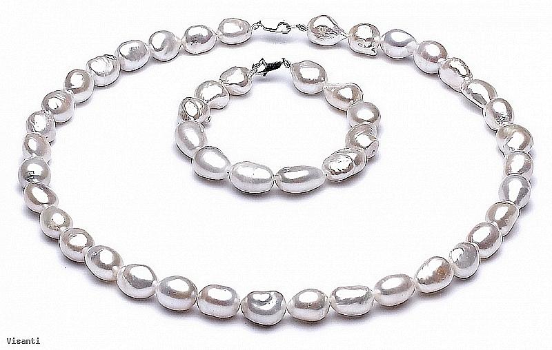 """Komplet, naszyjnik + bransoleta, perły białe hodowane, słodkowodne """"barok"""" 10-11mm, zapięcie srebrne"""