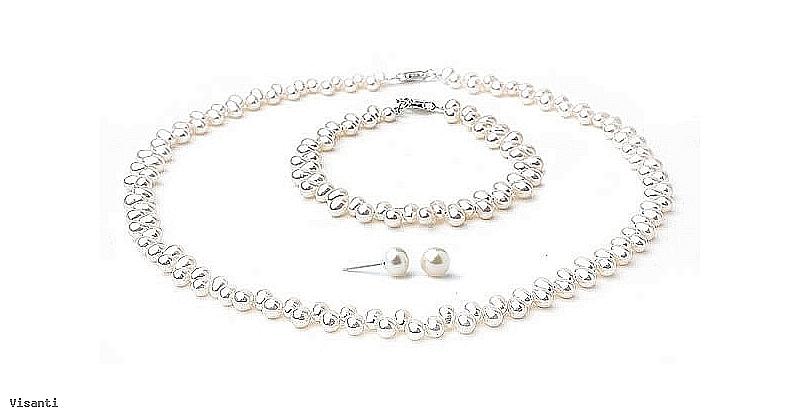 Komplet naszyjnik + bransoleta + kolczyki, perły białe hodowane, słodkowodne   6-7mm, zapięcie srebrne