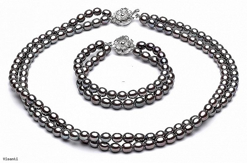 Komplet - naszyjnik i bransoleta - podwójny, perły grafitowe hodowane, słodkowodne   4-4.5mm, zapięcie posrebrzane