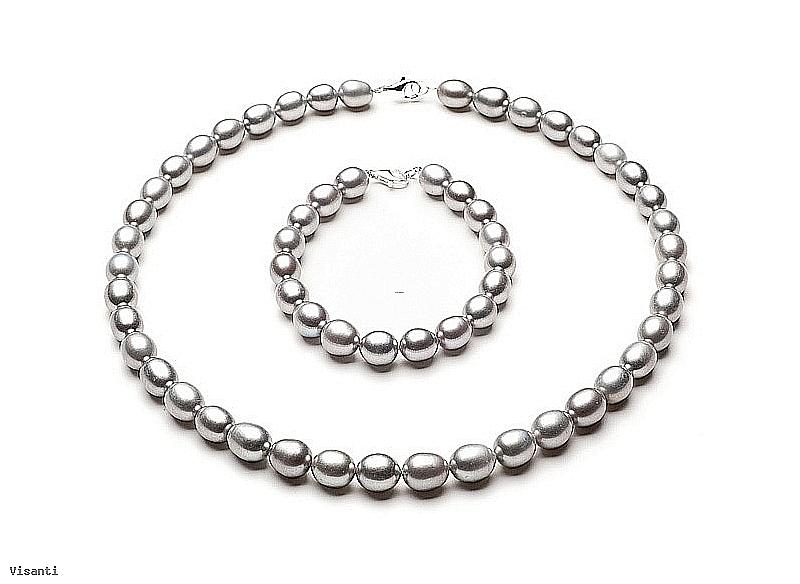 Komplet - naszyjnik i bransoleta - perły szare hodowane, słodkowodne   9-10mm, zapięcie srebrne