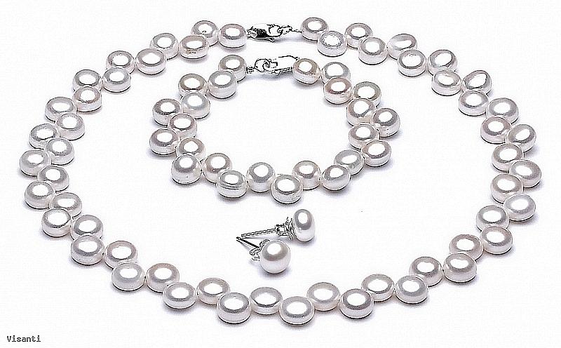 Komplet - naszyjnik, bransoleta i kolczyki - perły białe hodowane, słodkowodne  około 6-7mm, zapięcie srebrne