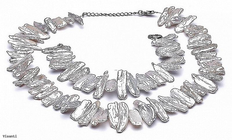 Komplet - naszyjnik i bransoleta - perły białe hodowane, słodkowodne   15-20mm, zapięcie srebrne