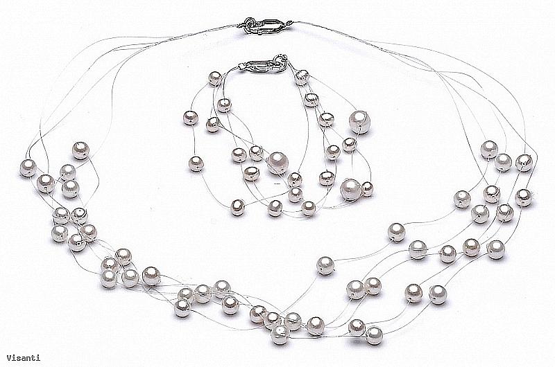 """Komplet naszyjnik """"pajęczynka"""" 5 żyłek + bransoleta , perły białe hodowane, słodkowodne okrągłe 3-7mm, zapięcie srebrne"""