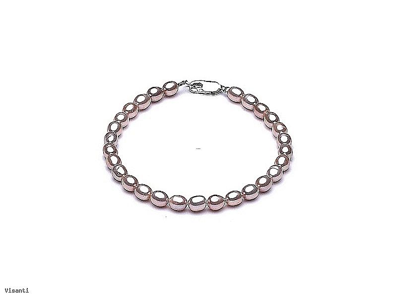 Bransoleta, perły łososiowe hodowane, słodkowodne   4-5mm, zapięcie srebrne