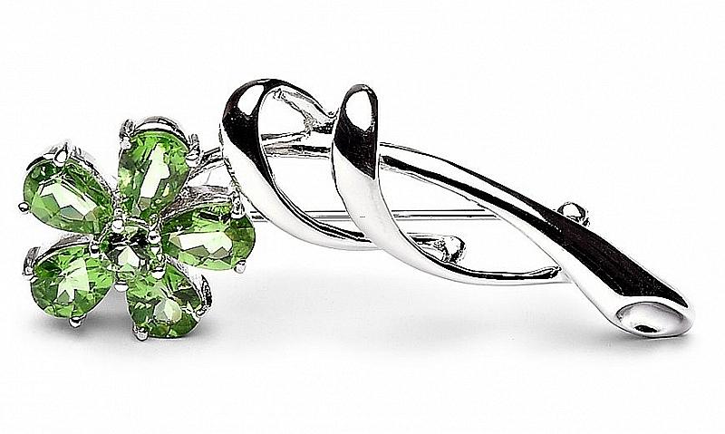 Broszko-zawieszka z zielonymi kryształami, srebro rodowane