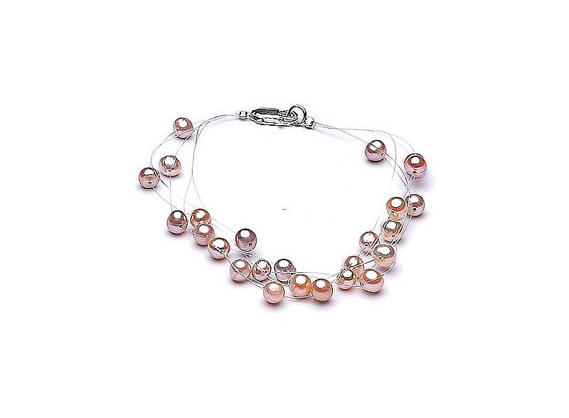 """Bransoleta """"pajęczynka"""" 5 żyłek, perły łososiowe hodowane, słodkowodne okrągłe 5-5.5mm, zapięcie srebrne"""