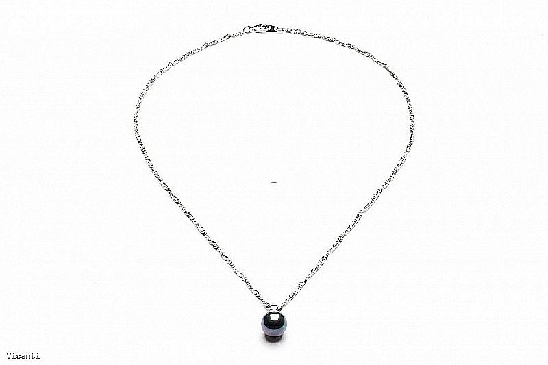 Naszyjnik z perłą shell wielkości 10mm w kolorze grafitowym
