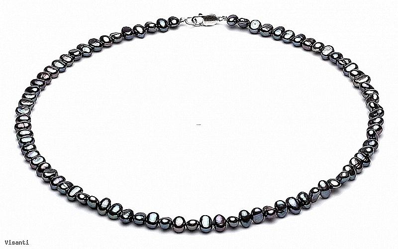 Naszyjnik, perły grafitowe hodowane, słodkowodne barok 5-5,5mm, zapięcie srebrne