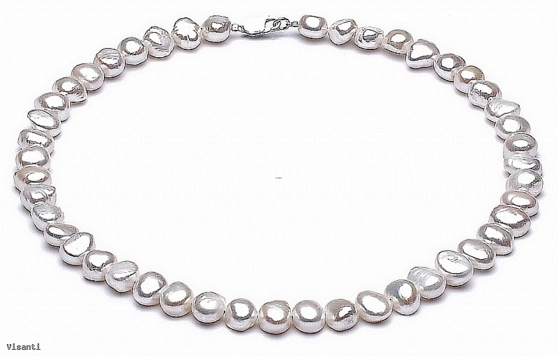 Naszyjnik, perły białe hodowane, słodkowodne barok 7-8mm, zapięcie srebrne