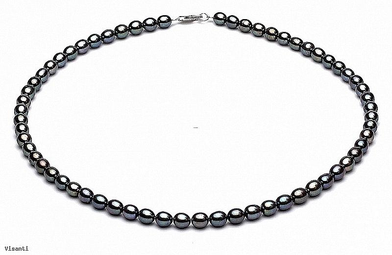 Naszyjnik, perły grafitowe hodowane, słodkowodne 4-4.5mm, zapięcie srebrne