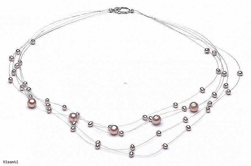 """Naszyjnik """"pajęczynka"""" 5 żyłek, perły łososiowe hodowane, słodkowodne okrągłe 3-7mm, zapięcie srebrne"""