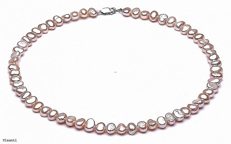 Naszyjnik, perły łososiowe hodowane, słodkowodne barok 7-8mm, zapięcie srebrne