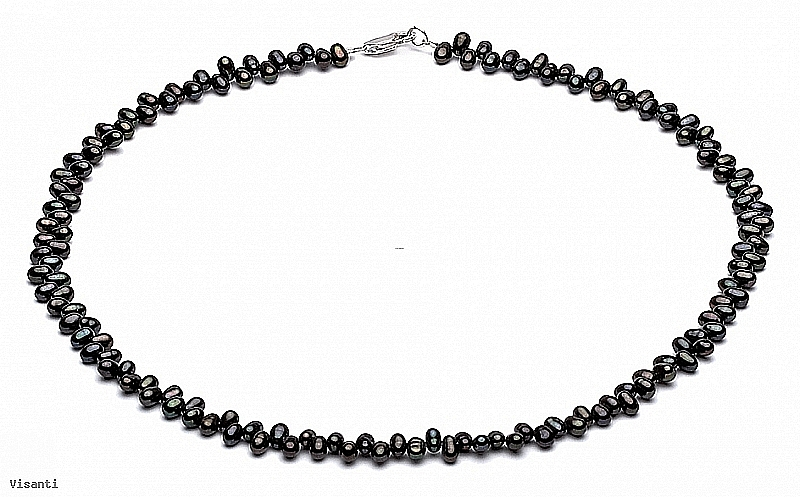 Naszyjnik, perły czarne hodowane, słodkowodne około 5-5,5 mm, zapięcie srebrne