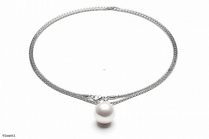 Naszyjnik z perłą shell wielkości 20mm w kolorze białym