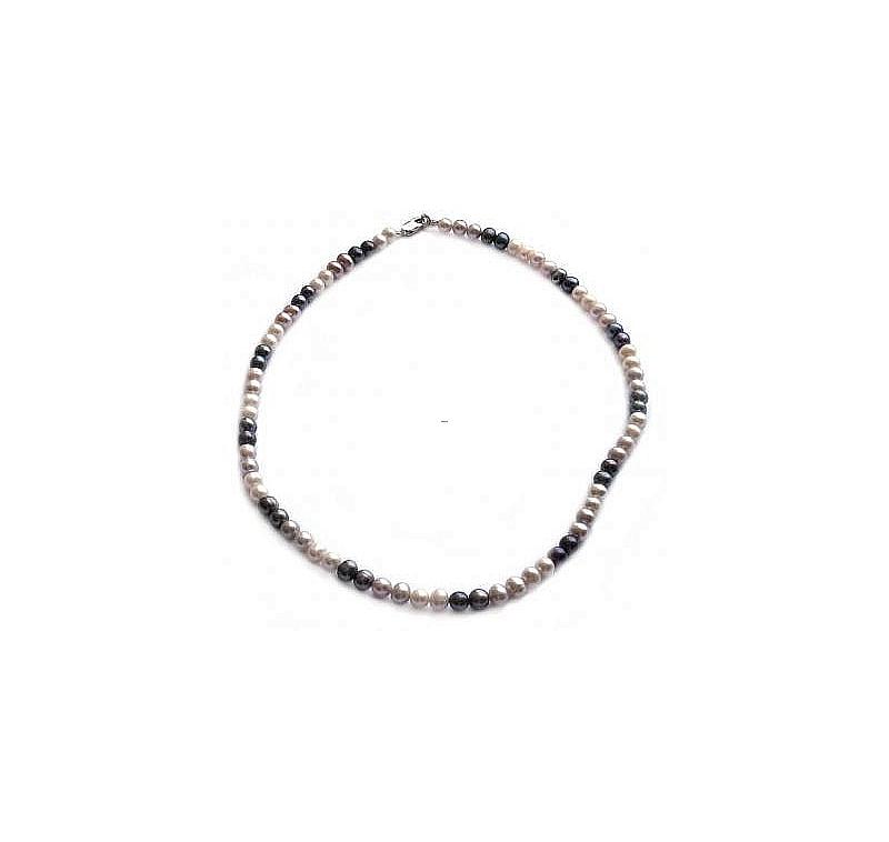 Naszyjnik, perły 3-kolorowe hodowane, słodkowodne okrągłe 6-6.5mm, zapięcie srebrne