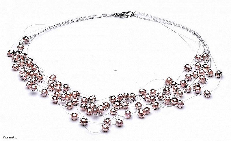 """Naszyjnik """"pajęczynka"""" 10 żyłek, perły łososiowe hodowane, słodkowodne okrągłe 5-5,5mm, zapięcie srebrne"""