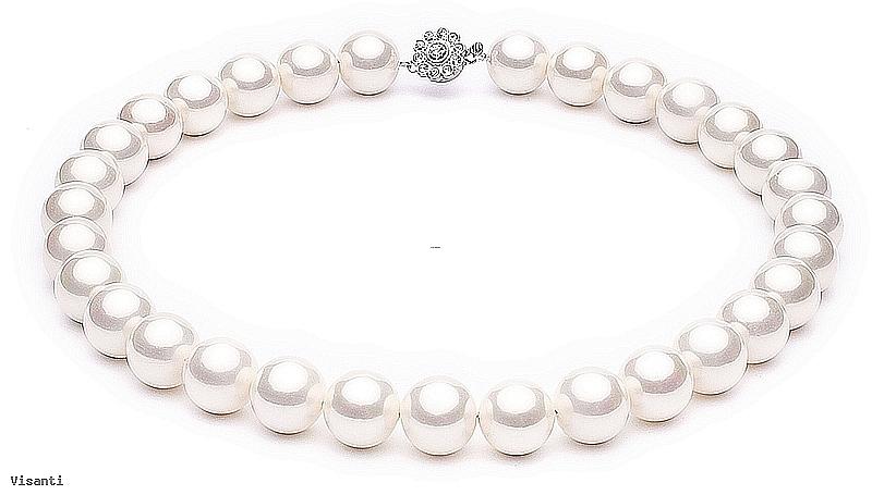 Naszyjnik, perły białe shell, wielkość 14mm, zapięcie posrebrzane