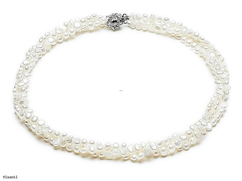 """Naszyjnik """"zwijaniec"""" z pereł naturalnych białych hodowanych, słodkowodnych wielkości 6-6,5mm, nieregularnych"""