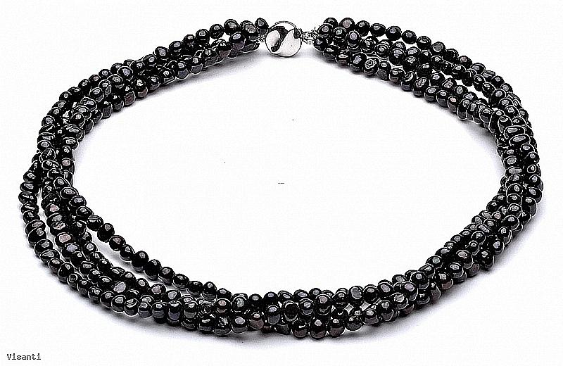 Naszyjnik - zwijaniec, perły czarne hodowane, słodkowodne okrągłe 5-5.5mm, zapięcie srebrne
