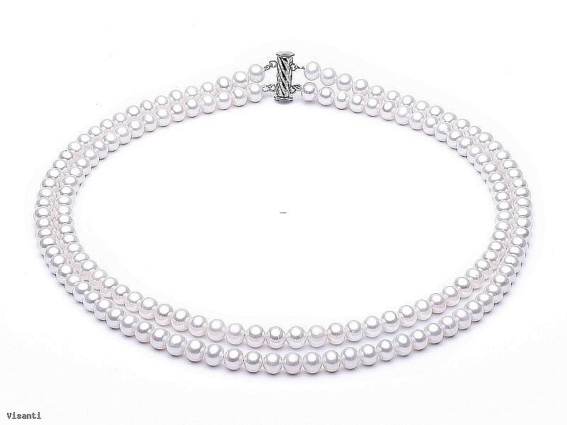 Naszyjnik podwójny, perły białe hodowane, słodkowodne okrągłe 6-6.5mm, zapięcie srebrne rodowane